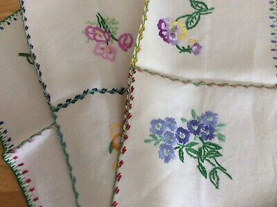 Excellent Pair Embroidered Table Centre or Toppers Floral Spray Panels (two)