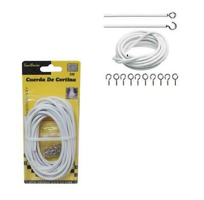 4 Metre Net Curtain Wire White Window Cord Cable With HOOKS & EYES