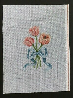 Holly Hand-painted Needlepoint Canvas Three Peach Tulips Tied With Blue Ribbon