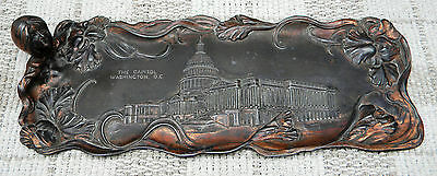 American Antique Tray Metal Art Nouveau WASHINGTON D.C. Picture Americana Rare