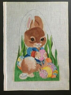 "Hand-painted Needlepoint Canvas Bright & Colorful Easter ""E Bunny"" With Eggs"