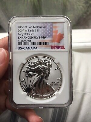 2019 W $1 Enhanced Reverse Proof Ngc Pf69 Er Silver Eagle Pride Of Two Nations