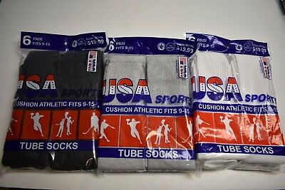 6 Or12 Pair Usa Cotton Athletic Tube Socks Black, Gray Or White Mens Size 9-15