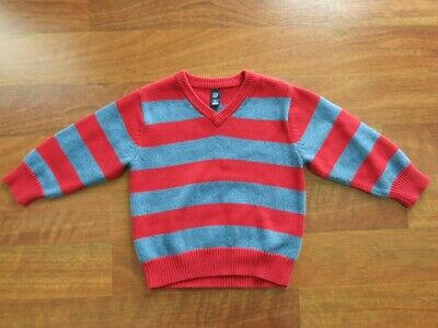 Boys Sz 3T Baby Gap Red Blue Striped Cotton Sweater Pullover