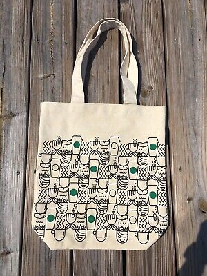 Starbucks Anywhere Canvas Cotton Travel Tote Bag Mermaid Latte Coffee Cups