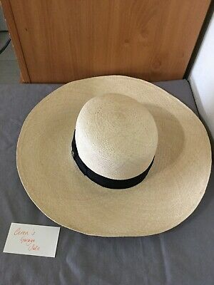 f2c5f763c VINTAGE GENUINE WOMENS Panama Hat Finely Woven w Grossgrain and ...