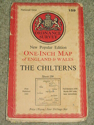 "OS Ordnance Survey 1"" 1947 New Popular Edition sheet 159 The Chilterns: on paper"