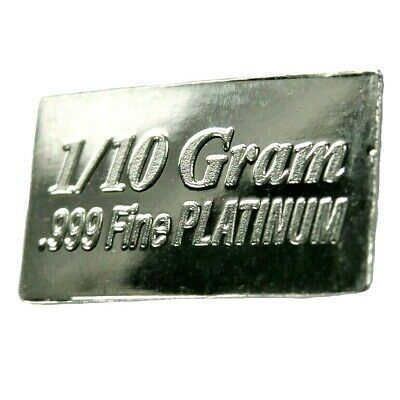 1/10 Gram .999 Fine Platinum Bullion Bar - in Assay Card