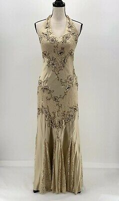 Cache Womens Gown Formal Dress Champagne 6 Halter Sleeveless Lace Beaded Silk