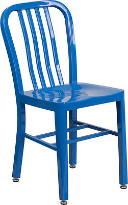 Industrial Style Blue Metal Restaurant Chair - Outdoor Cafe Bistro Chair