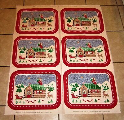 Cranston Print Works Christmas In The Country Stencil 6 Placemats Fabric Panel