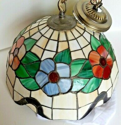 Stained Glass Lamp Shade Flowers Pendant 16 in across Tiffany style