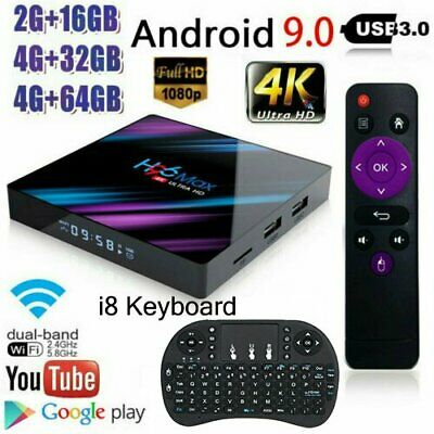H96 MAX Smart TV BOX Android 9.0 OS 4G RAM 32/64GB Quad Core 1080p WiFi 4K LED