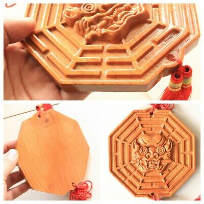 Chinese Lucky Blessing House Protect Mahogany Tiger Head Feng Shui Bagua Mirror