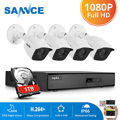 SANNCE 8CH 1080P HDMI DVR 2MP Outdoor Security Camera System IR Night Vision 1TB