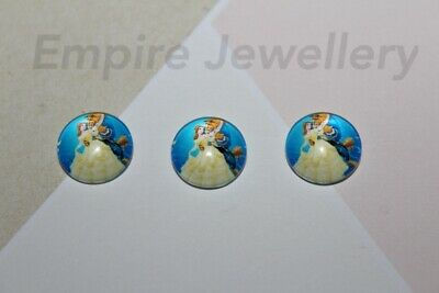 2 x Beauty & The Beast #2 12x12mm Glass Cabochons Cameo Disney Princess Belle