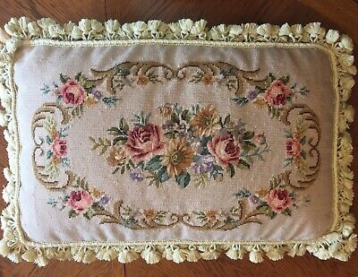 Vintage Aubusson Wool Tassel Needlepoint Decorative Floral Tapestry Pillow