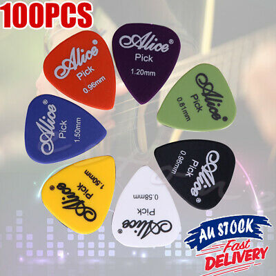 100PCS Acoustic 6 Thickness Guitar Plectrum Picks with Case Electric Various