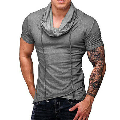 Mens Lace Up T-shirt Tops Costumes Tee Middle Sleeve Shirt Causal Baggy Cotton