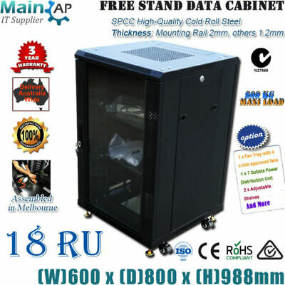 18U 18RU 19'' NETWORK DATA LAN CABINET 800mm DEEP MOUNT SERVER DATA RACK Combo