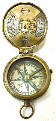 Nautical Antique Brass Compass Marine Stanley London Working Push Button Compass