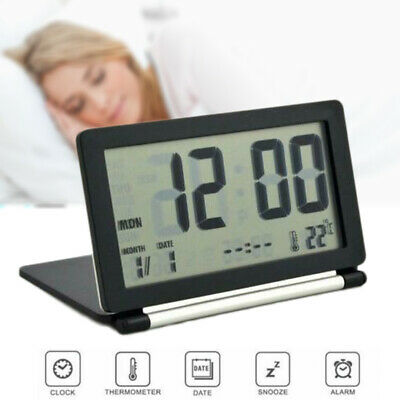 Cute Portable Square Small Bed Compact Travel Digital Folding LCD Alarm Clock