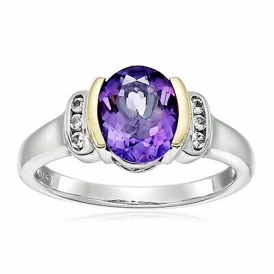 Natural Amethyst & White Topaz Ring in Sterling Silver & 14K Gold