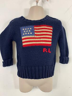 Boys Polo Ralph Lauren Blue Jumper Sweater Crew Neck Pull Over Size Kid 9 Month