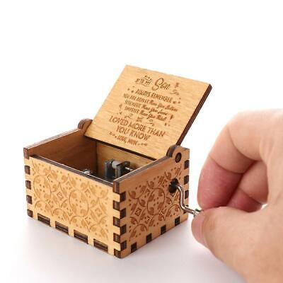 Handmade Wooden Engraved Hand Crank Music Box Birthday Gift for Kids Friends New