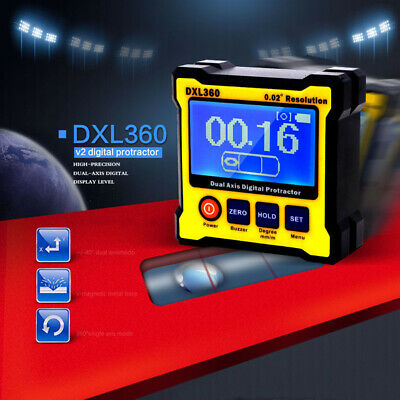 Dual Axis 0.02° Resolution LCD Digital Angle Protractor Inclinometer DXL360 Tool