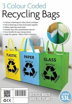 Set Of 3 Recycle Bags Colour Coded Recycling Plastic Glass Paper Storage Bin Bag