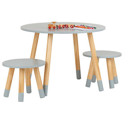 Hartleys Kids Grey Round Wooden Table & 2 Chairs Set Childrens Bedroom Playroom