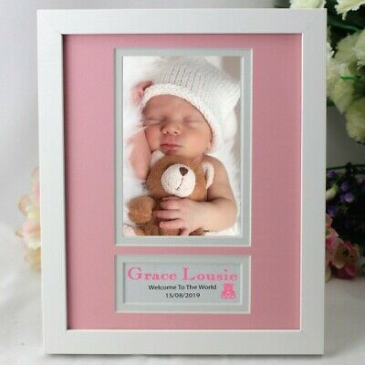 Baby Girl Personalised  Photo Frame 4x6 White Wood - Unique Baby Gift