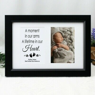 Baby Memorial Photo Frame Typography Print 4x6 Black - Personalised Custom Gift