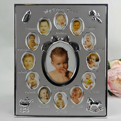My First Year Silver Baby Photo Frame  - Unique Baby Gift