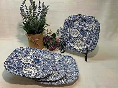 """(4)Johnson Brothers England Liberty 7 1/2"""" Square Blue Floral Toile Salad Plates"""