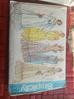 6888 Simplicity Sewing Pattern Wedding Gown Bridesmaid Dress Vintage 1970s sz12