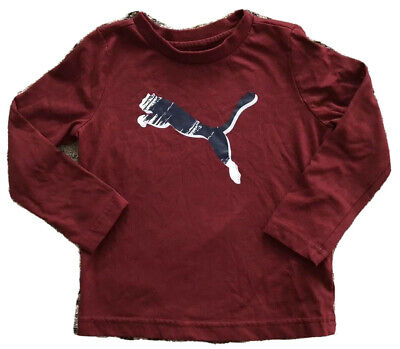 Toddler Boys Long Sleeve Puma Shirt Maroon Color Size 2T