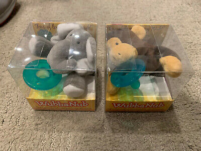 PAIR of BRAND NEW Wubbanub ELEPHANT & MONKEY Infant Baby Soothie Pacifier