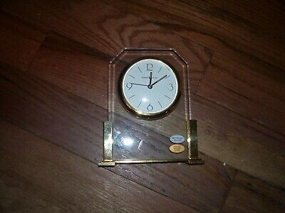 Used Howard Miller Running Mantle Clock With Beveled Glass & Solid Brass Base