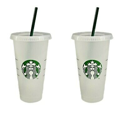 STARBUCKS 2 Reusable Venti 24 OZ Frosted Ice Cold Drink with Lid & Green Straw