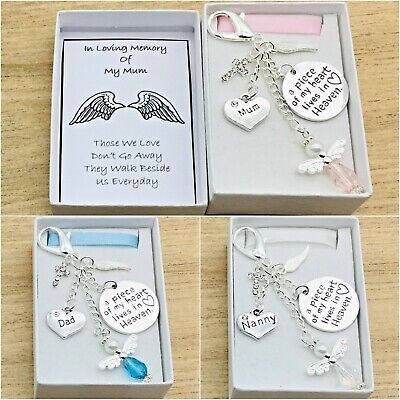 In Loving Memory Gift. A Piece Of My Heart Is In Heaven. Box. Angel Keyring.r