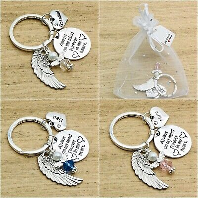 In Loving Memory Gift. Always On My Mind/ In My Heart. Bag. Angel Keyring. Round