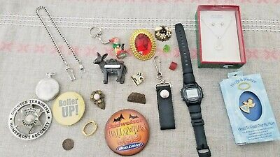 Junk Drawer Lot Vintage Pocket Watch Jewelry Coin Bud beer Harley davidson Casio
