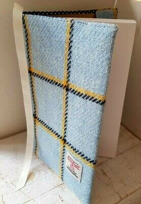 Harris Tweed A5 Book Cover Pale Blue Yellow Check Lined Jacket Sleeve Diary Gift