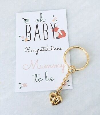 Mummy Mum To Be Gold Heart Keyring Pregnancy Congratulations Baby Shower Gift