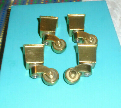 """4 pc,ORIGINAL VINTAGE,BRASS,SWIVEL CASTERS,CUP,CHAIR,FURNITURE,NEW,UNUSED,3/4"""""""