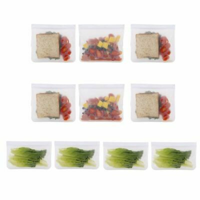 10 Pcs Reusable Food Storage Thick PEVA BPA/Plastic Free Bags for Lunch Snacks