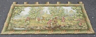 Fine Vintage Large French Tapestry Hunting Scene Wall Hanging