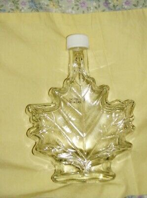 """MAPLE LEAF 6 3/4"""" Clear with Cap Lid Glass Jar Bottle"""